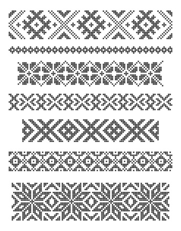 folklore: set of borders, embroidery cross, vector