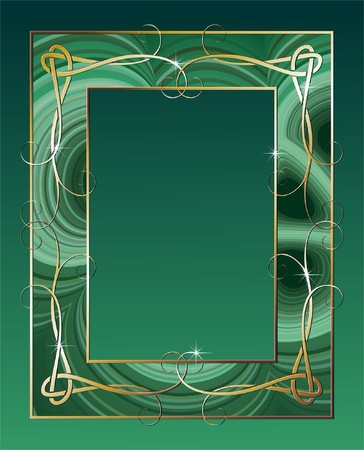 malachite border with golden ornamental elements