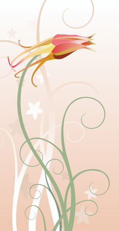 vector illustration of a columbine with decorative floral elements Illustration