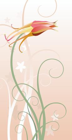 vector illustration of a columbine with decorative floral elements Ilustração