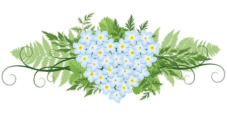 flora vector: design element with heart shape made from forget-me-nots and leafs