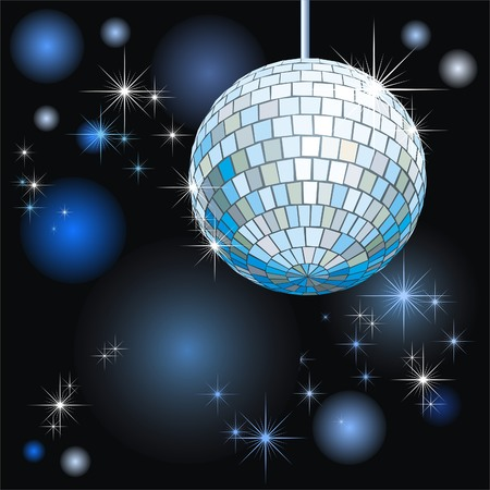 computer dancing: background with disco-ball and lights