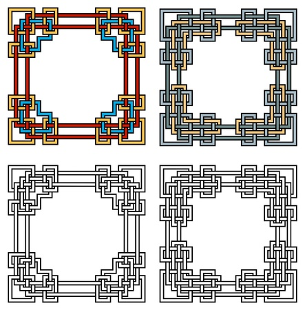 two square ornamental frames, coloured and black&white versions