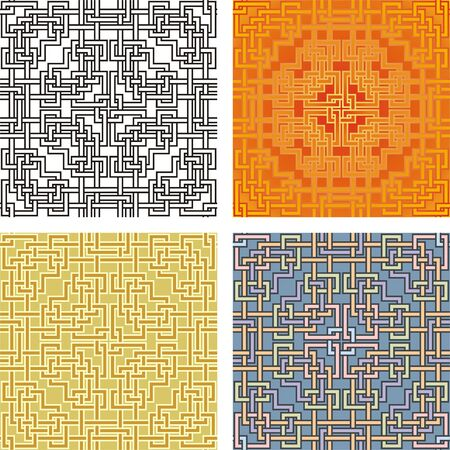 coloured and black&white versions of geometrical pattern