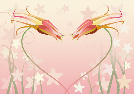 rosy: two columbines on pink background with floral elements