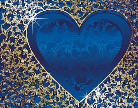 valentine carte avec de l'or frame