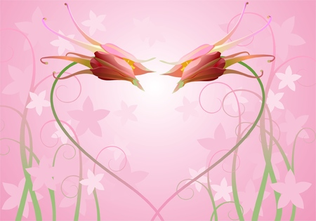two columbines on pink background with floral elements Vector