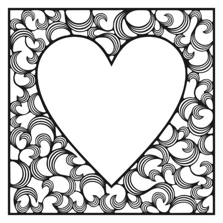 ornamental frame, heart shape Illustration