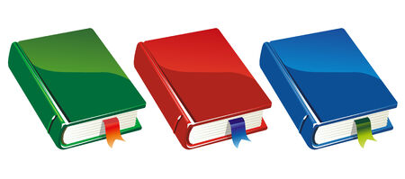 three colour versions of a closed book Illustration