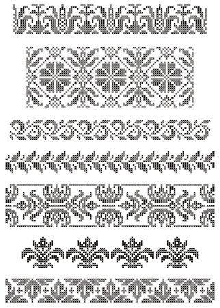 一連の境界、クロス、花のモチーフの刺繍  イラスト・ベクター素材