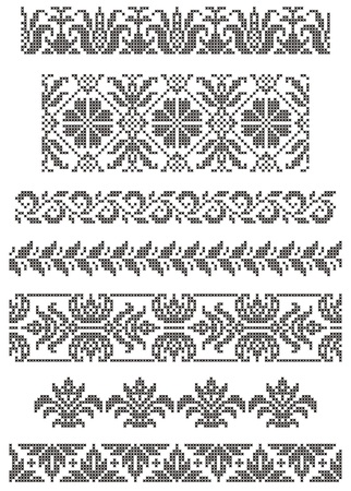 folklore: set of borders, embroidery cross, floral motifs