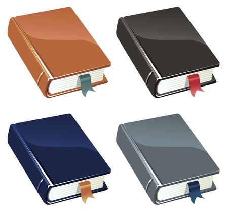 four colour versions of a book Illustration