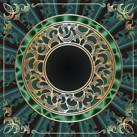 ornament  jewellery: round gold frame with malachite