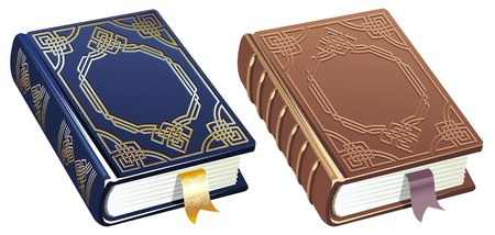 two colour versions of a book decorated with ornament