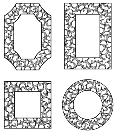 four ornamental frames with curls Illustration