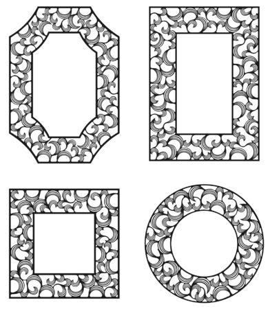 four ornamental frames with curls Illustration
