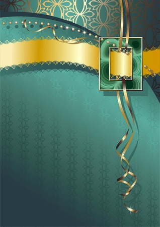 マラカイトのバックルとゴールドのリボンと緑の背景