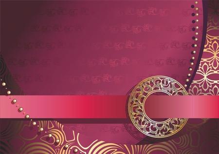 fond rouge avec boucle en or d'ornement Illustration