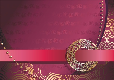 red background with gold ornamental buckle