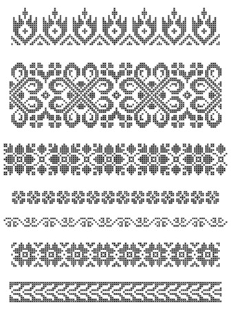 embroidery flower: set of borders, embroidery cross, floral motifs