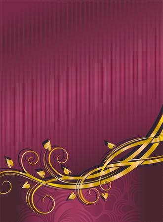 黄金の花の要素と赤い絹の背景