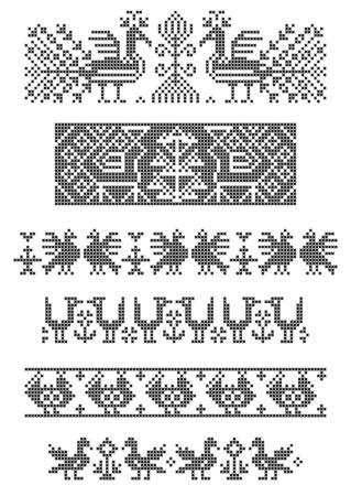 国境、クロス刺繍、鳥のセット  イラスト・ベクター素材