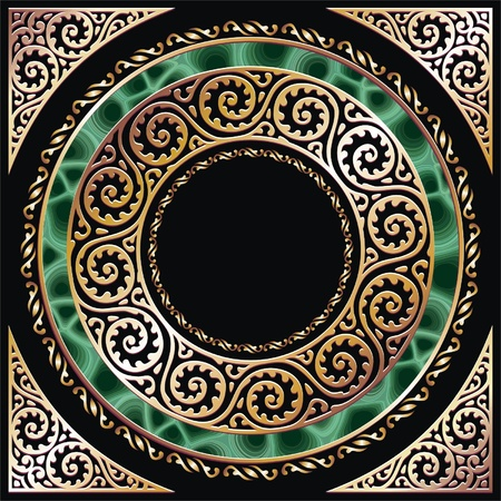ornament  jewellery: golden circle frame with malachite