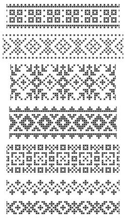 刺繍のクロスのシームレスな幾何学的な境界の設定