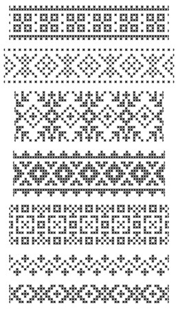 set of seamless geometrical borders, embroidery cross