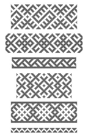 ensemble de fronti�res sans soudure g�om�triques, croix broderie Illustration