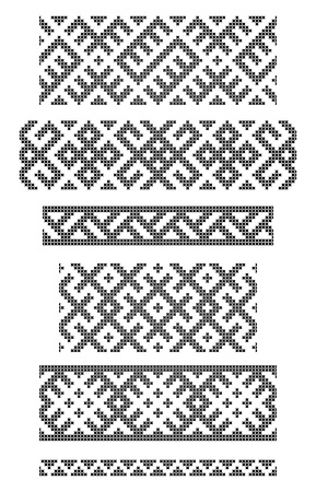 folklore: set of seamless geometrical borders, embroidery cross
