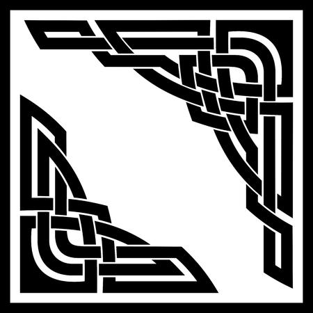 celt: vector set of two celtic ornamental corners Illustration