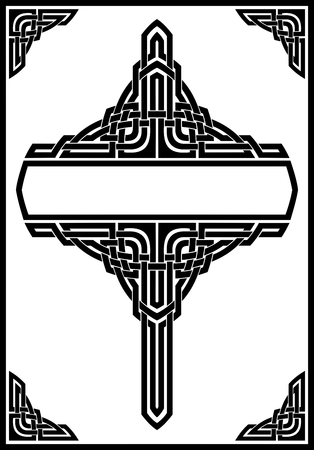 vecteur d'ornement cadre gothique, noir sur blanc