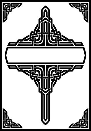 Vettore cornice ornamentale gotico, nero su bianco Archivio Fotografico - 25660949