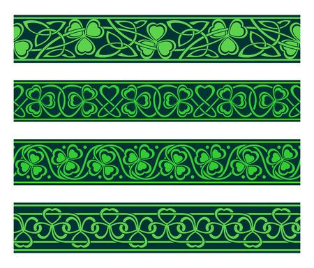 Conjunto de cuatro bordes sin costuras con el trébol Foto de archivo - 26079990