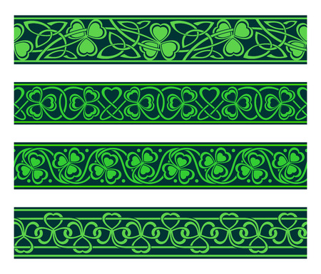 set of four seamless borders with shamrock Vector