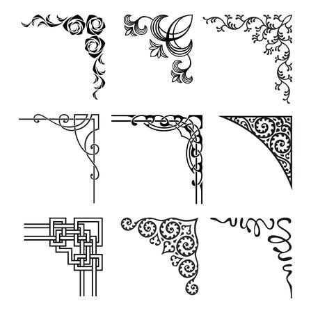 fancy border: conjunto de esquinas ornamentales en un estilo diferente