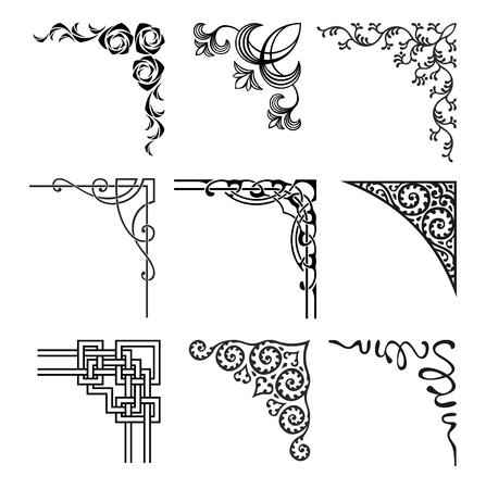 title: set of ornamental corners in different style Illustration