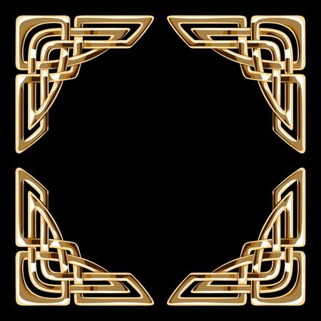 vector golden celtic ornamental corners on black background