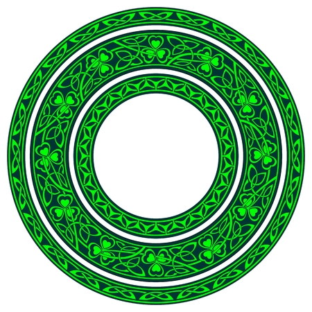 set of three round celtic borders with shamrock