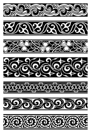 7 つのシームレスな花の罫線のセット  イラスト・ベクター素材