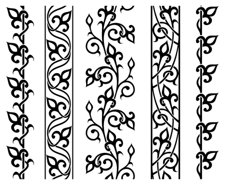 border line: set of seamless floral borders
