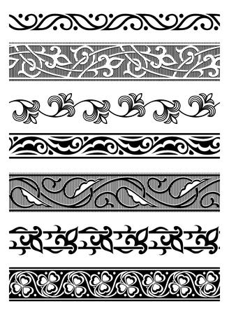 ensemble de seamless bordures florales Illustration