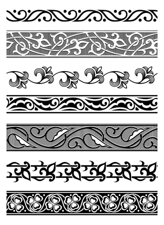 set of vector seamless floral borders