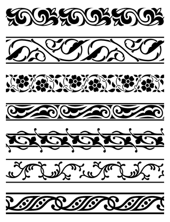 ベクトル シームレスな花の罫線のセット 写真素材 - 27517932