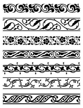 Ensemble de vecteurs sans soudure bordures florales Banque d'images - 27517932
