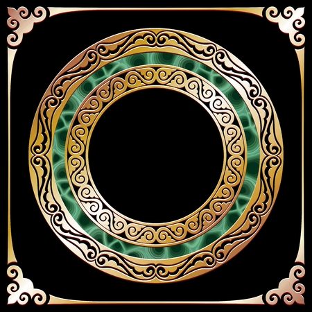 malachite: golden circle frame with malachite at black background Illustration
