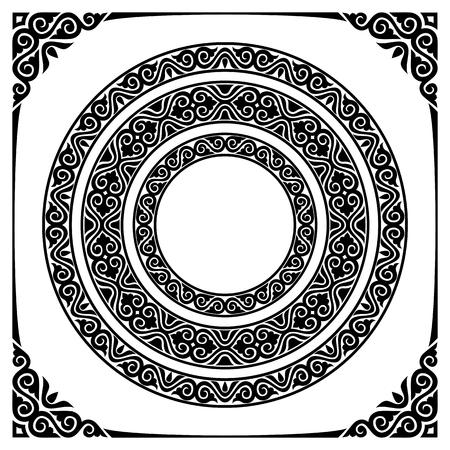 set of three circle ornamental frames and corners Ilustração