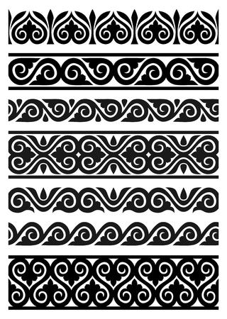 ベクトル シームレスな花の罫線のセット  イラスト・ベクター素材