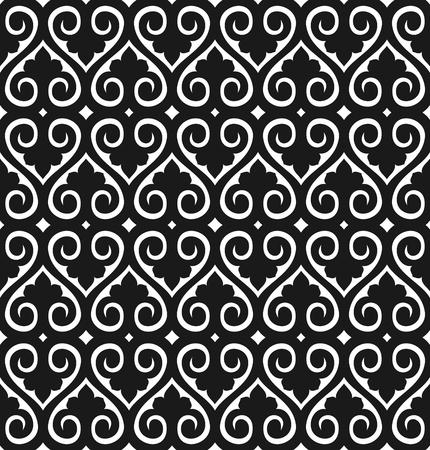 シームレスな壁紙のパターンの白に黒のベクトル